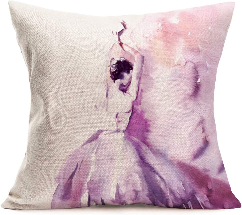 Fukeen BallerinaPillowCase Watercolor Pink GirlBalletDancer Pillows Cushion Cover Home Girls RoomDecor Cotton Linen Decorative Pillow Covers 18 x 18 Inch (Ballet Dancer 2)