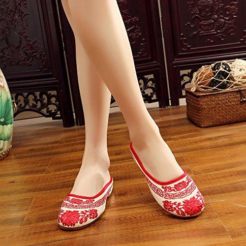 brodées de de Plates Rouge de Marche Femmes Chaussures Flocons Chaussures pour Chaussures Fleurs FwqfUf4