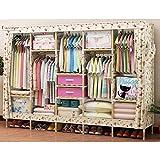 Folding wardrobe cloth wardrobe storage assembly simple wardrobe cloth solid wood double to send 2 storage box,8267''(210170),H