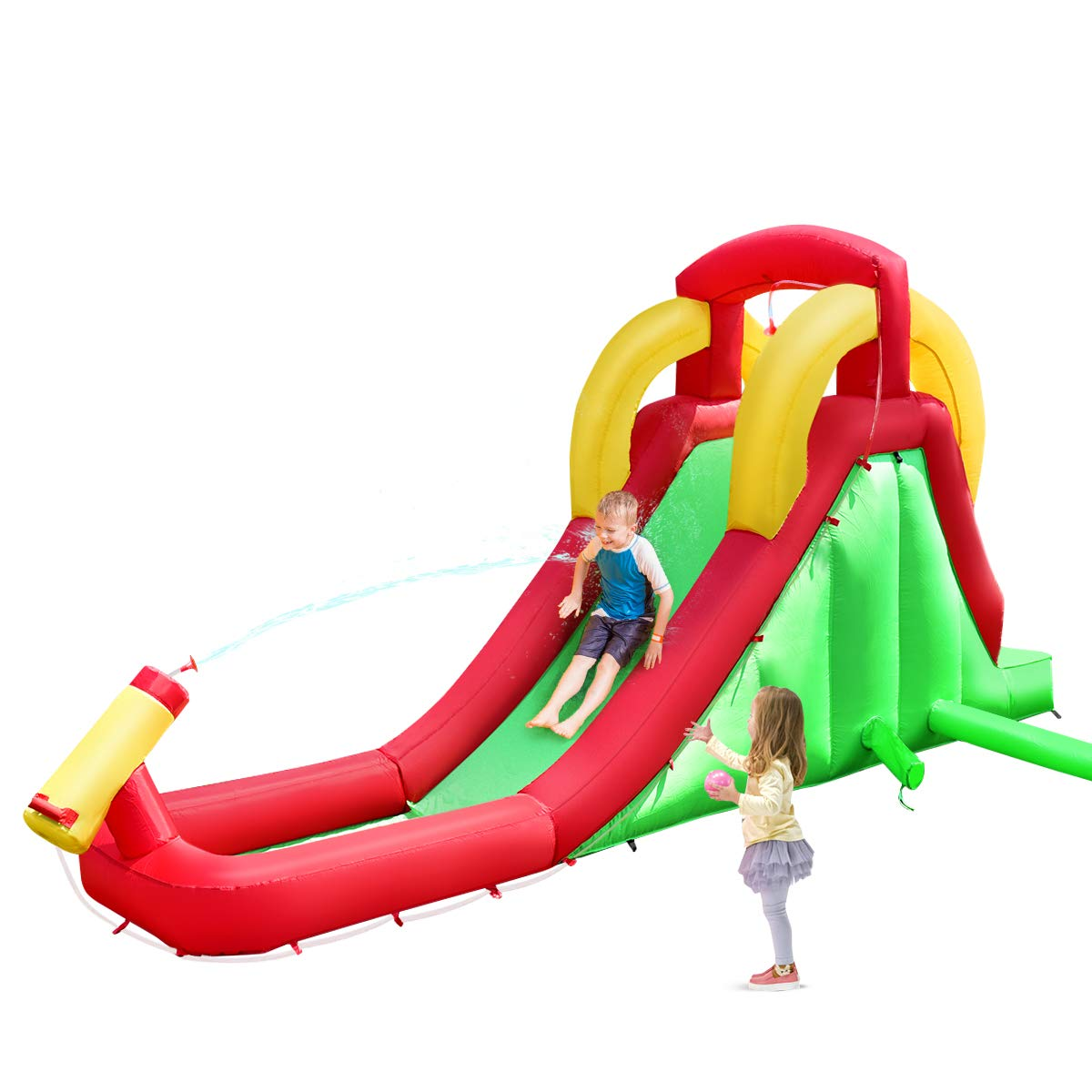 Costzon Inflatable Water Slide, Climb and Long Slide Bouncer w/ Water Cannon for Kids, Including Carry Bag, Repairing Kit, Hose, Without Blower by Costzon