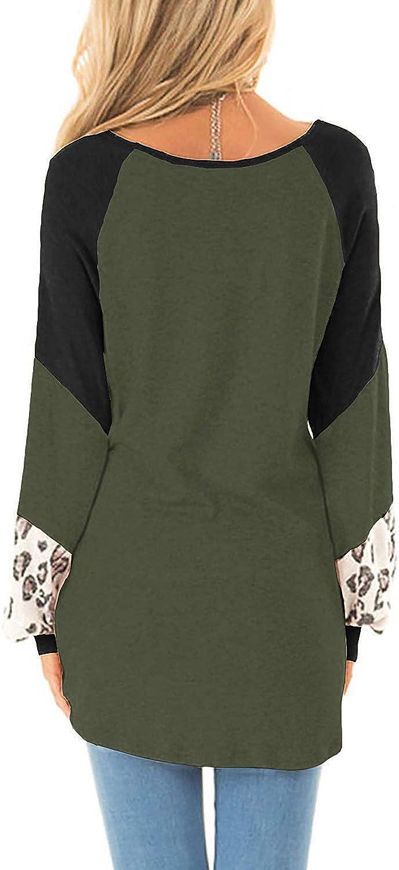 LAMISSHCE Womens Color Block Leopard Raglan Tunic Sweatshirts Long Sleeve Crew Neck Loose Pullover Tops
