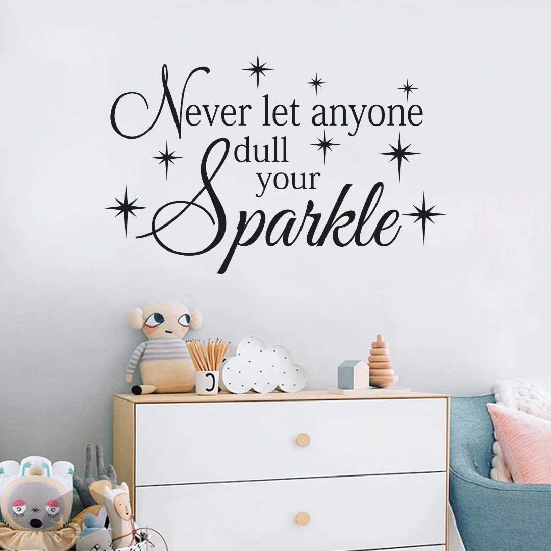 BATTOO Girls Wall Decal Quotes- Never Let Anyone Dull Your Sparkle Vinyl Decal Sticker Sparkle Decal Nursery Bedroom Teen Bedroom Decor (Black, 14.5