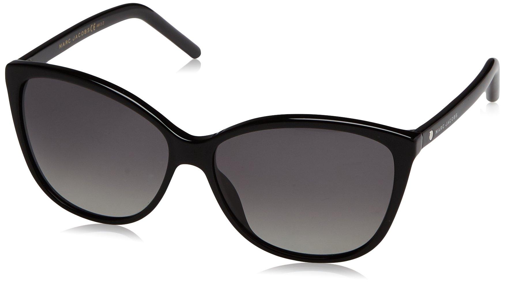 Marc Jacobs Women's Marc69s Polarized Cateye Sunglasses, Black/Gradient Shaded Polarized, 58 mm