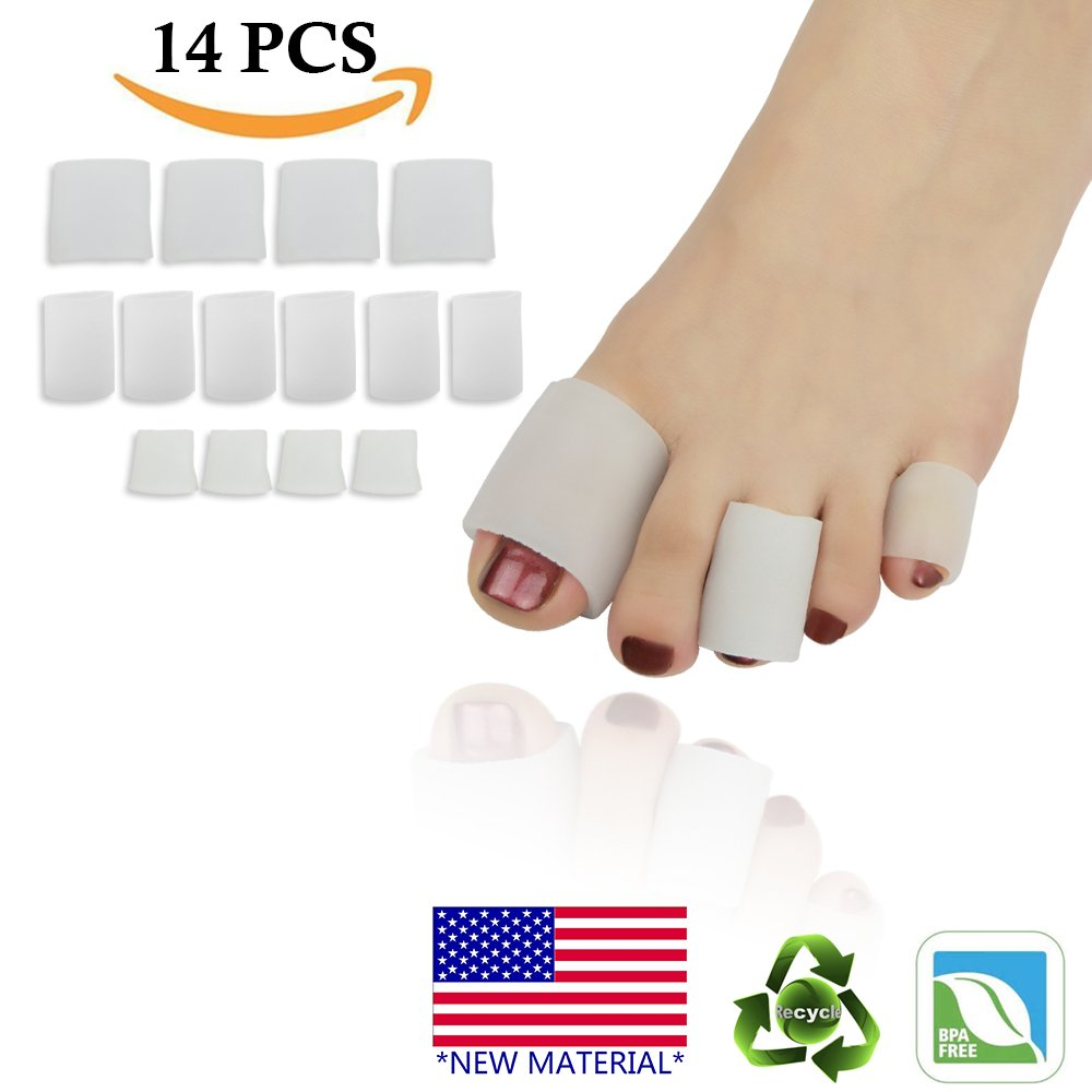 Gel Toe Caps Toe Protectors Open Toe Sleeves Tubes (14PCS) NEW MATERIAL for Blisters, Corns, Hammer Toes, Toenails Loss, Friction Pain Relief and More.(4 BIG + 6 MIDDLE + 4 SMALL)