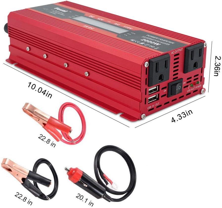 Aramox Conversor de potencia de coche de 1000 W CC 12 V 2000 W de potencia pico de 220 V//110 V USB doble USB