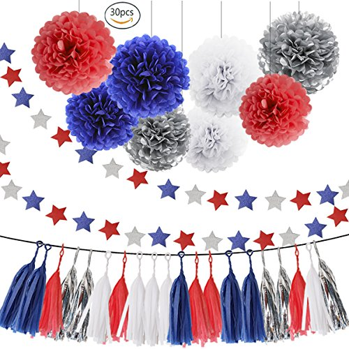 HEARTFEEL 30pcs Patriotic Tissue Paper Pom Pom Silver Navy Blue Red White Tassel Garland Party Decorations Paper Flowers Twinkle Star Garland Kit for Birthday Baby Shower Wedding Nursery -