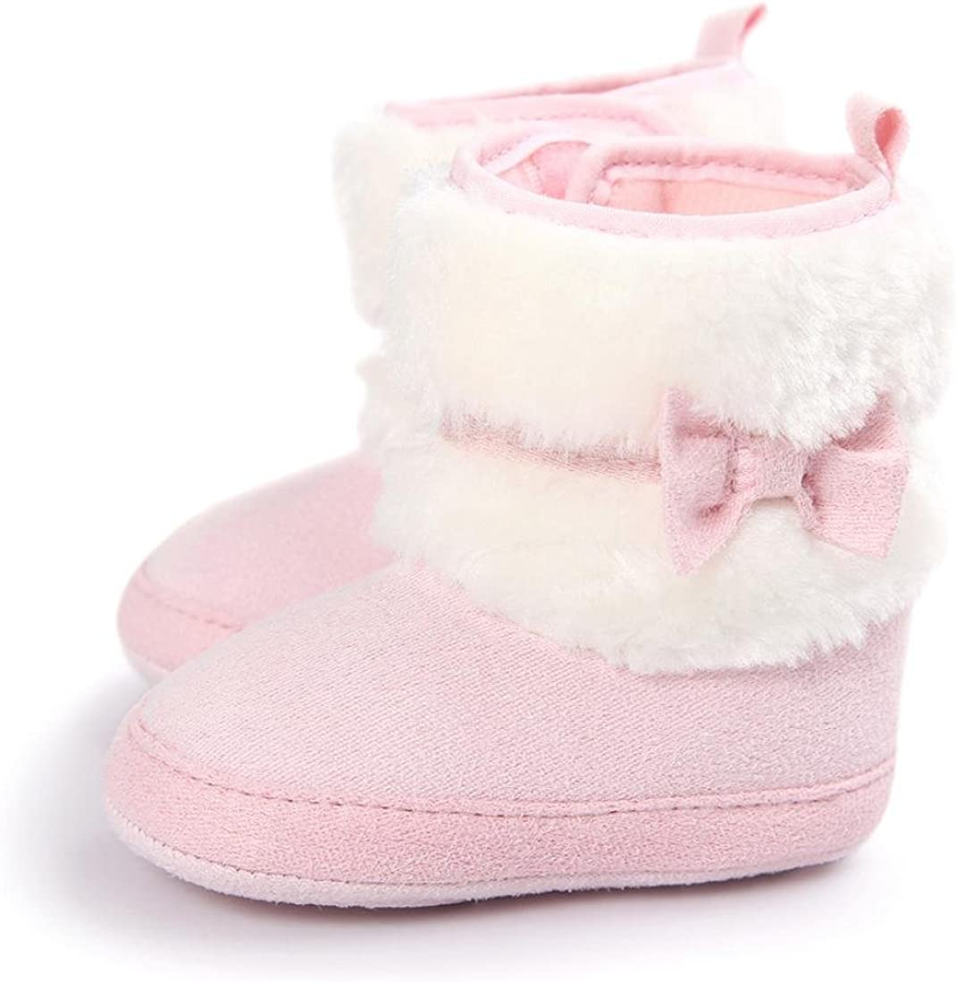 WARMSHOP Baby Boys Girls Bowknot Keep Warm Soft Sole Snow Boots Soft Crib Shoes Toddler Boots