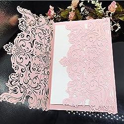 Laser Cut Vintage Elegant Pocket Wedding Invitations Cards Gold Set for Marriage Birthday Bridal Shower Heart with Envelopes Seals (30PCS Pink)