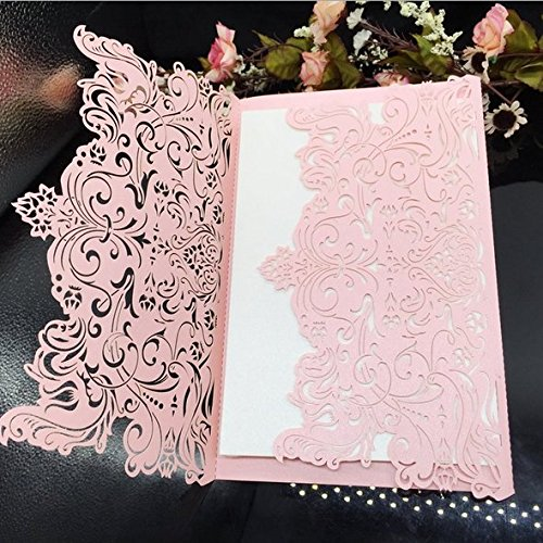 Laser Cut Vintage Elegant Pocket Wedding Invitations Cards Gold Set for Marriage Birthday Bridal Shower Heart with Envelopes Seals (30PCS Pink)