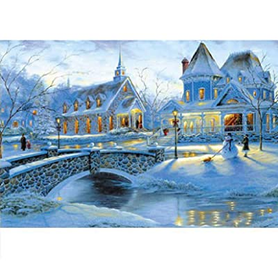 1000 Piece Jigsaw Puzzle Winter Snow Landscape Jigsaw Puzzles Large Puzzle Micro-Sized Puzzles Painting Jigsaw Puzzle: Home Improvement