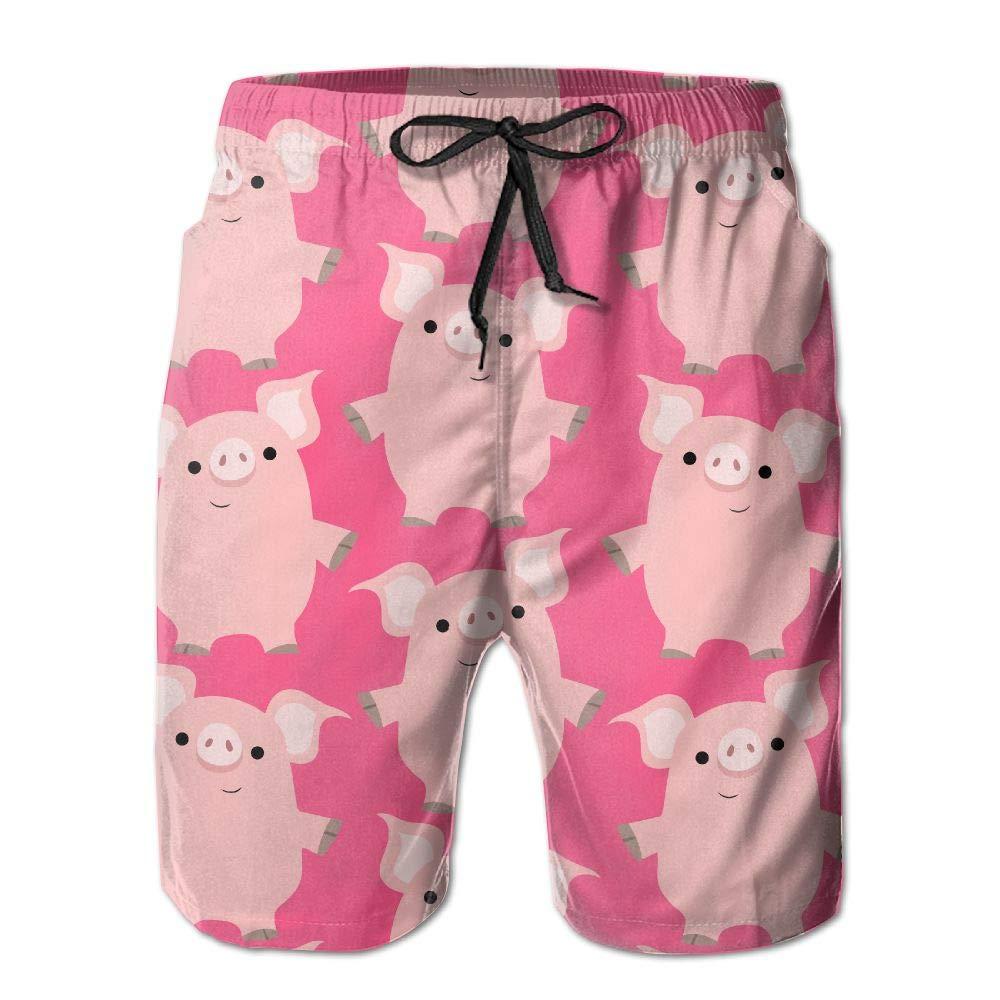 Shadidi Mens Summer Cute Pink Pig Quick-Dry Running Swim Trunks Boader Shorts Beach Swimsuit Sports