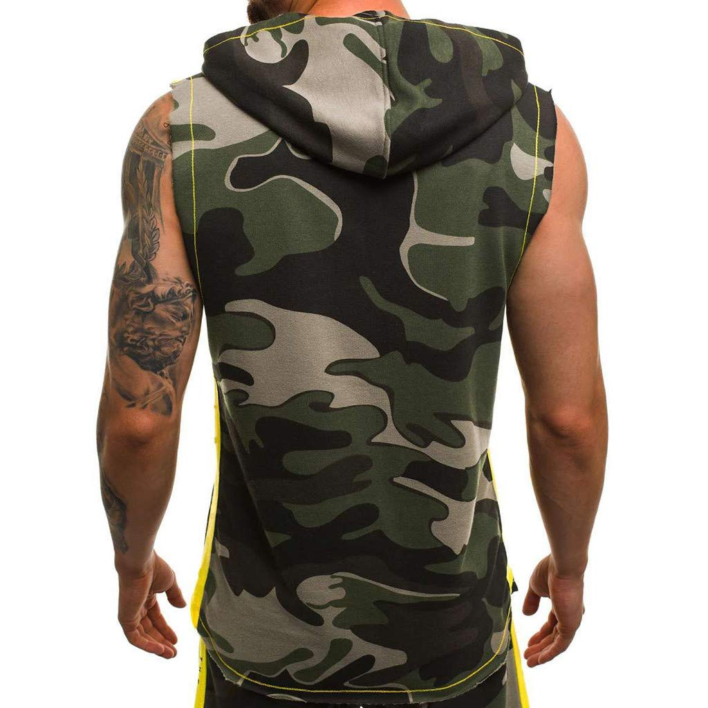 HWTOP Camouflage Weste f/ür Herren Hoodie Tank Top Classic Sweatshirt Leichter Patchwork Pullover /Ärmelloser Kontrast Oberteil Trainingsshirt