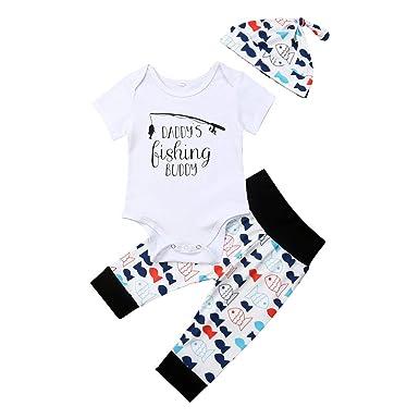 786a37bb041c8 Deyiis 3pcs Nouveau-né bébé Fille garçon vêtements pêche Papa Top Barboteuse  Pantalon Long Chapeau