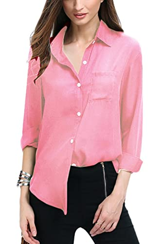 La Mujer Casual Plus Tamaño Botón Abajo Camisa De Gasa De Negocio Blusas Tops