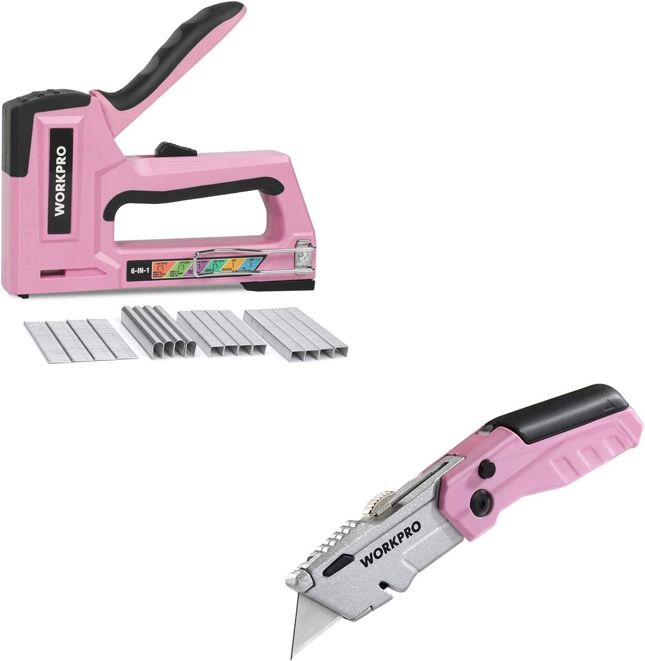 6-in-1 Manual Brad Nailer with 4000-Pieces Staples and Pink Folding Utility Knife 12 Extra Blades Included WORKPRO Pink Staple Gun