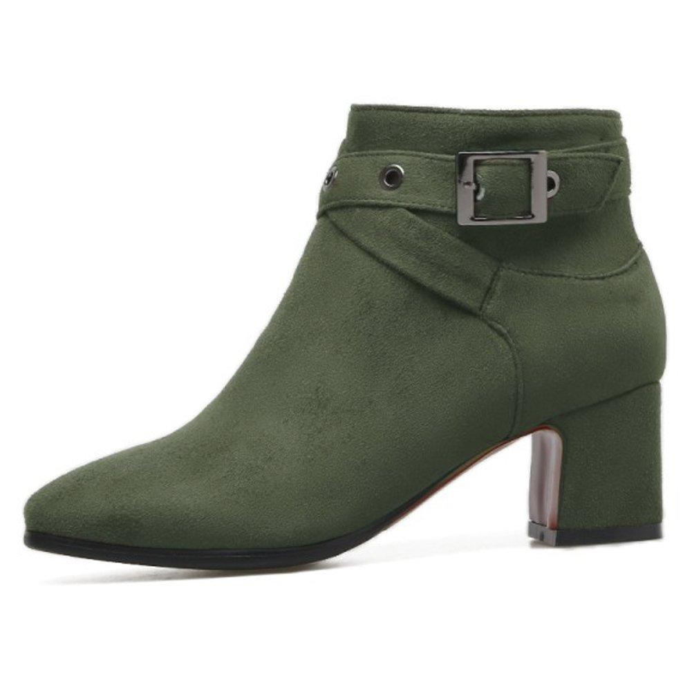 QZUnique Women Chunky Heel Zip Closure Ankle Booties Square Toe Buckle Martin Boots