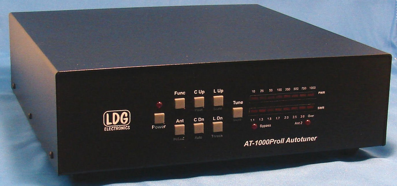LDG Electronics AT-1000PROII Automatic Antenna Tuner 1.8-54 MHz, 200-1000 Watts, Updated features include an LED indicator for antenna selection and an LED to indicate when in bypass .2 Year Warranty