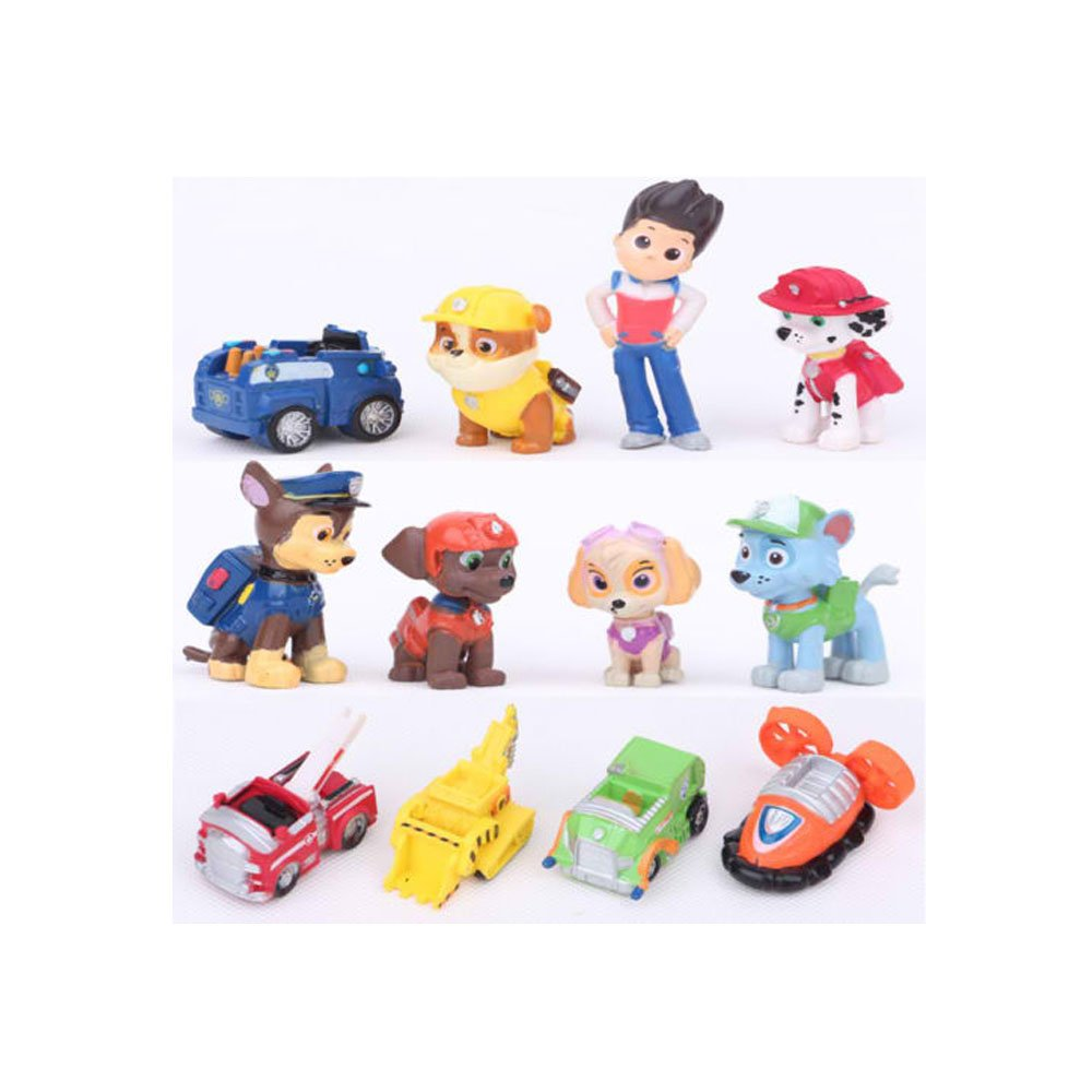 New 12 pcs PAW PATROL Mini Figures Playset Cake Toppers, Ryder + 6 pups + 5 vehicles