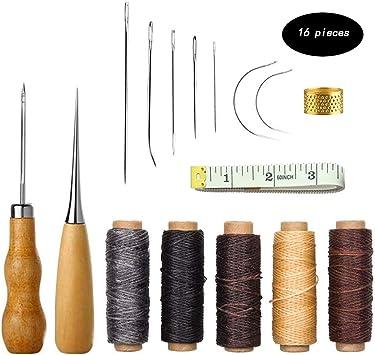 16 Piezas Herramienta de Artesanía de Cuero Agujas de Coser a Mano de Tapicería de Cuero de lona Accesorios de Costura de Bricolaje: Amazon.es: Hogar