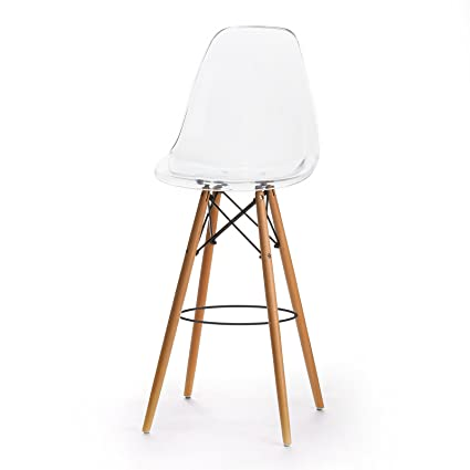 Design Tree Home Charles Eames Style DSW Bar Stool, Clear Acrylic