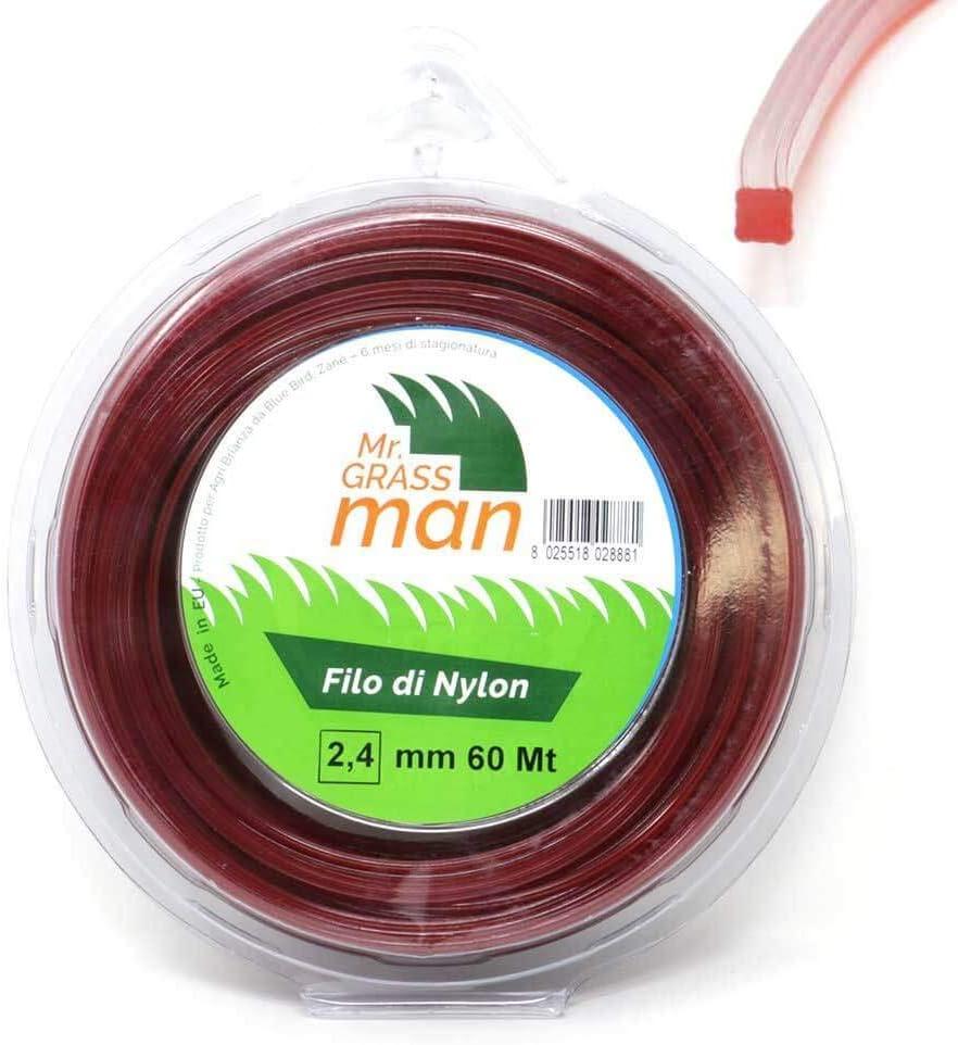 Mr Grass Man Filo decespugliatore in Nylon Sezione Quadrata 2,4mm Bobina da 60m