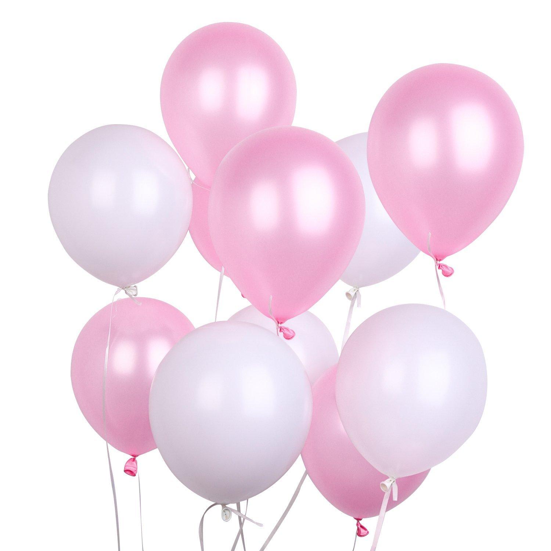 PuTwo Luftballons 12 Zoll 100 Stück Rosa Weiß Grau Luftballons Helium Luftballons Latex Luftballon Helium Ballons Partydeko Taufe Dekoration Geburtstag Dekoration - Rosa, Weiß, Grau Weiß