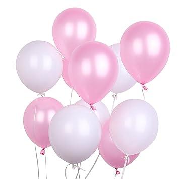 Putwo Luftballons Rosa Weiss 100 Stuck 12 Zoll Luftballons Rosa