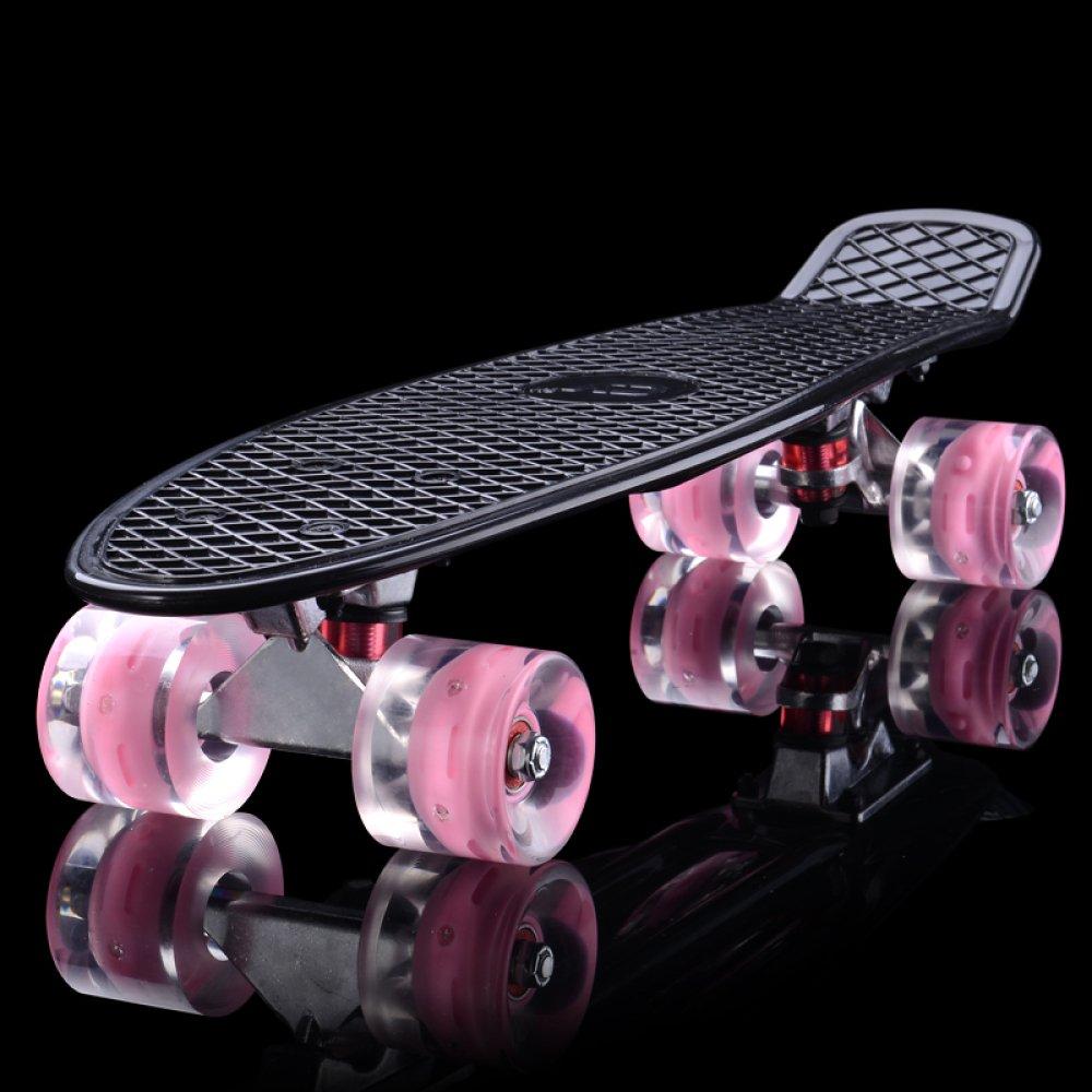 Czz Bxh Gioventù Skateboard per Adulti Bambini Principianti Ragazzi e Ragazze Strada Pennello Strada Scooter a Quattro Ruote,F,Skateboard