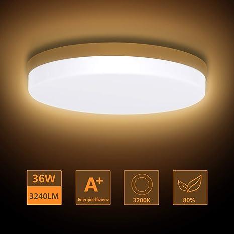 Ouyulong - Lámpara de techo LED, plástico, amarillo 24.00W ...