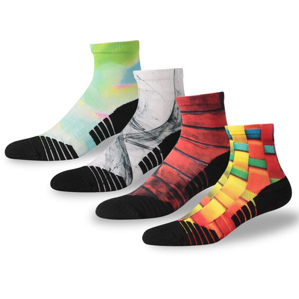 NIcool Marathon Running Socks, Women's Youth Anti-Blister Cushion Compression Awesome Lacrosse Hiking Short Boot Wicking Ankle Socks, Gifts for Sporters, 4 Pairs, Multicolor by NIcool