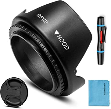 52mm Tele Metal Screw-in Lens Hood Sunshade with Centre Pinch Lens Cap for Canon Nikon Sony Pentax Olympus Fuji Sumsung Leica Camera Cleaning Cloth