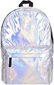 Bagsmall Leather Backpack Women Hologram Laptop Backpack For School Laser Silver Color Holographic Bag backpacks (clear)
