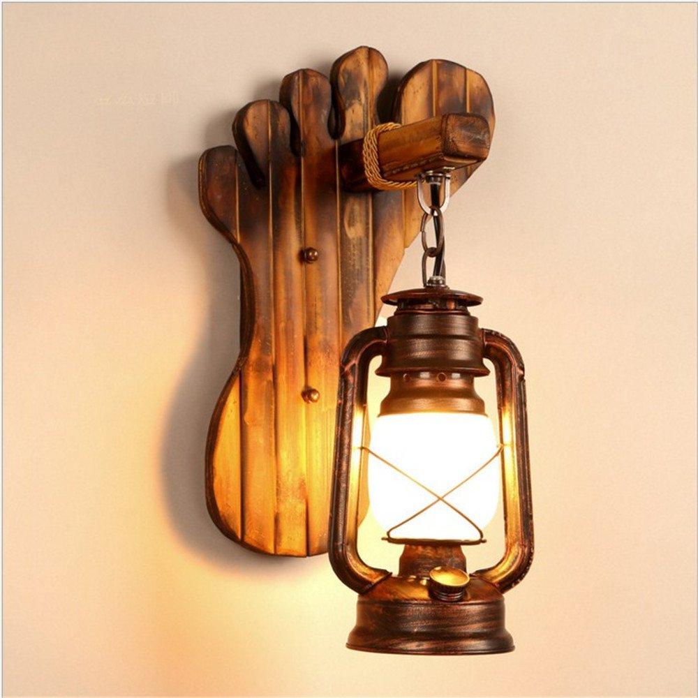M-Maker Loft retro solid wood wall lamp cafe bar restaurant bedroom living room creative horseshoe kerosene lamp American village wall lamp 24 40 (cm)
