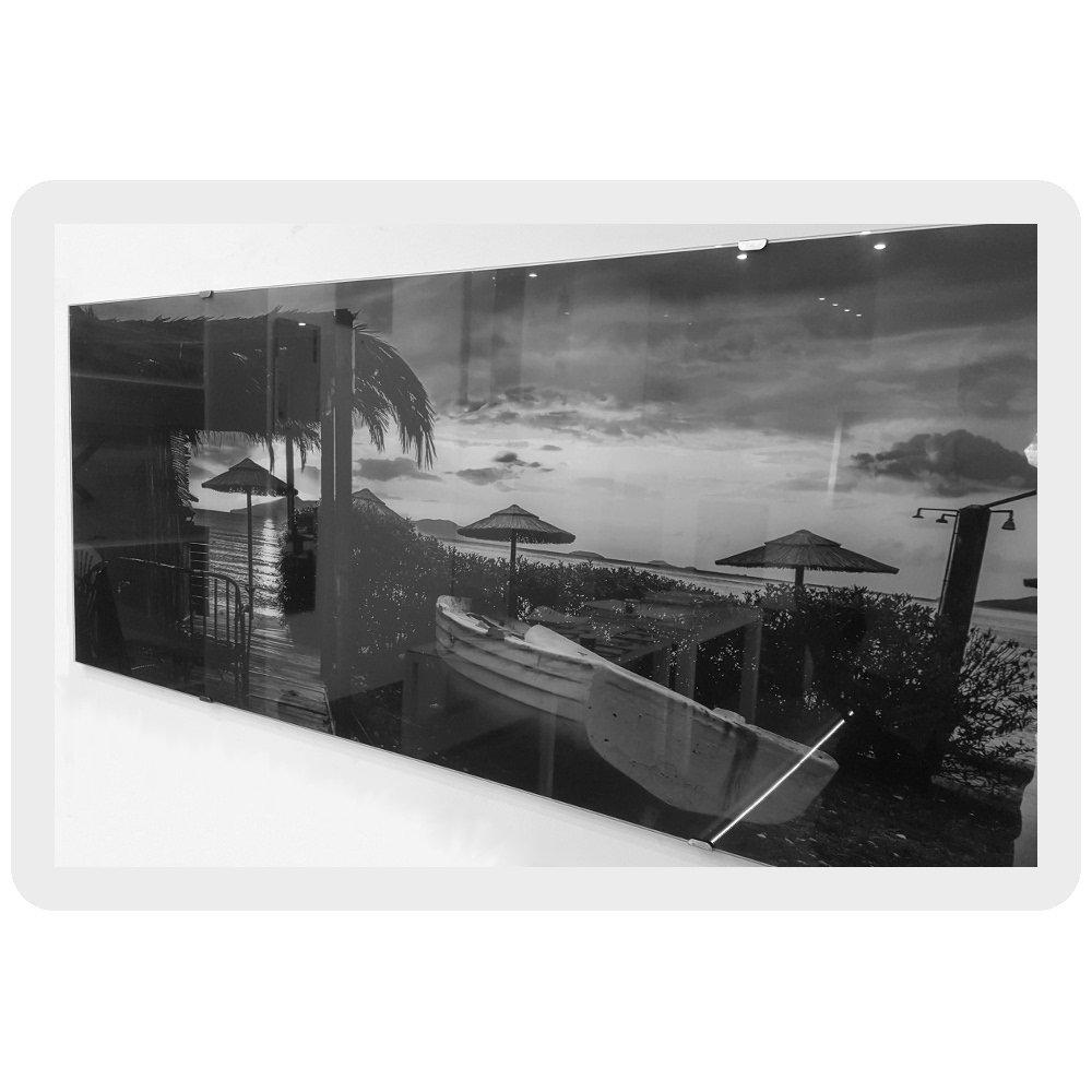 einteilig 125x50 cm Wandbild Flur Bilder Wohnzimmer Wanddeko DekoGlas Glasbild Blume Steine Echtglas Bild K/üche