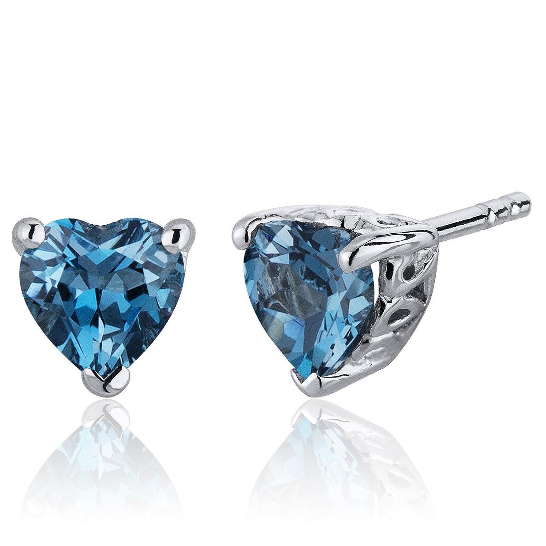 London Blue Topaz Heart Shape Stud Earrings Sterling Silver 2.00 Carats