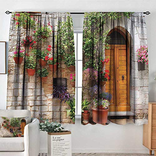 PriceTextile Tuscan,Kitchen Curtains Begonia Plant Wooden Shutter 52