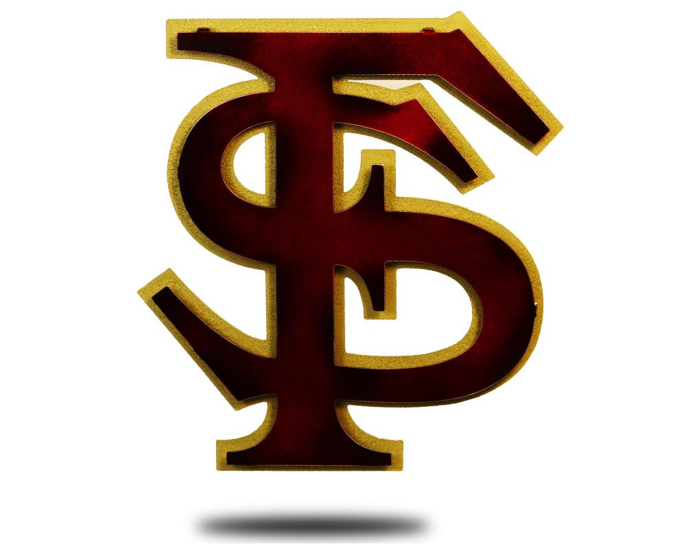 Gear New Florida State FS Logo 3D Vintage Metal College Man Cave Art, Large, Maroon/Gold