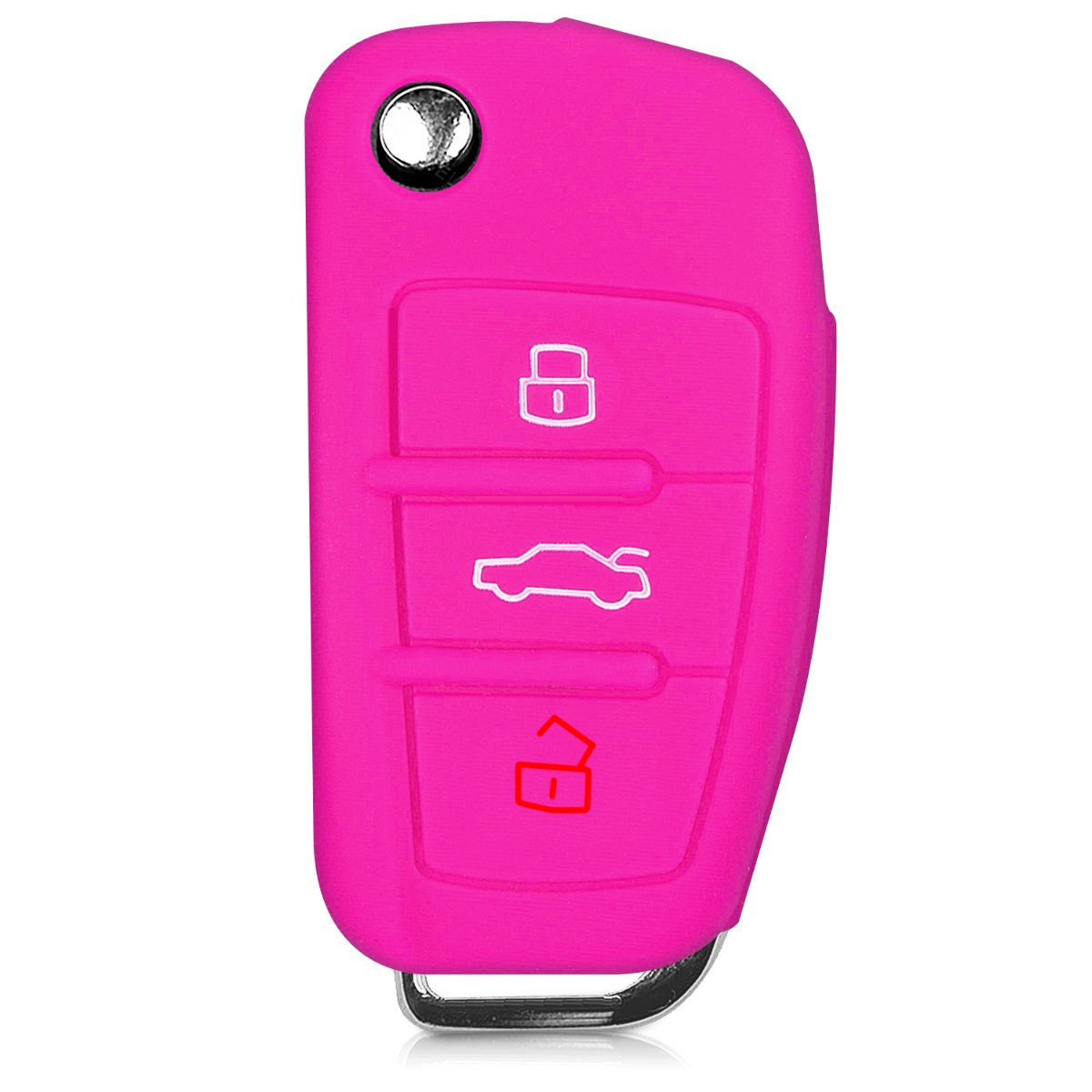 Black kwmobile Car Key Cover for Audi Silicone Protective Key Fob Cover for Audi 3 Button Flip Key