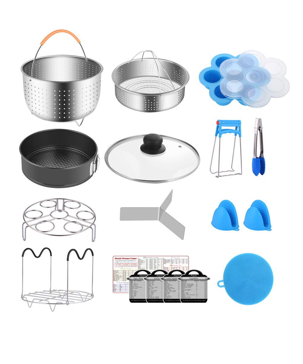 Fopurs 8 Quart Pressure Cookers Accessories Set, Compatible with Instant Pot 8 Qt [6Qt Available], Steamer Baskets with Divider, Glass Lid, Springform Pan, 5 Cooking time Magnets and more, 18 pcs by Fopurs