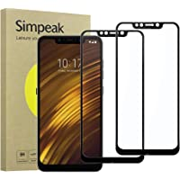 Simpeak 2-Packs Cristal Templado para Xiaomi Pocophone F1, Protector de Pantalla Xiaomi Pocophone F1 Premium Protección Complet Bubble Free/HD Clear/Anti-Scratch/9H Screen - Negro