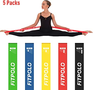 Fitpolo Resistance Loops Exercise Bands-Set of 5 for Home Workout, Stretching Training, Pilates, Yoga, Rehab, Physical Therapy with Carry Bag