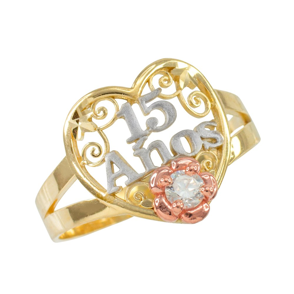 10k Tri-Tone Gold Sweet 15 Anos Solitaire CZ Quinceanera Heart Ring