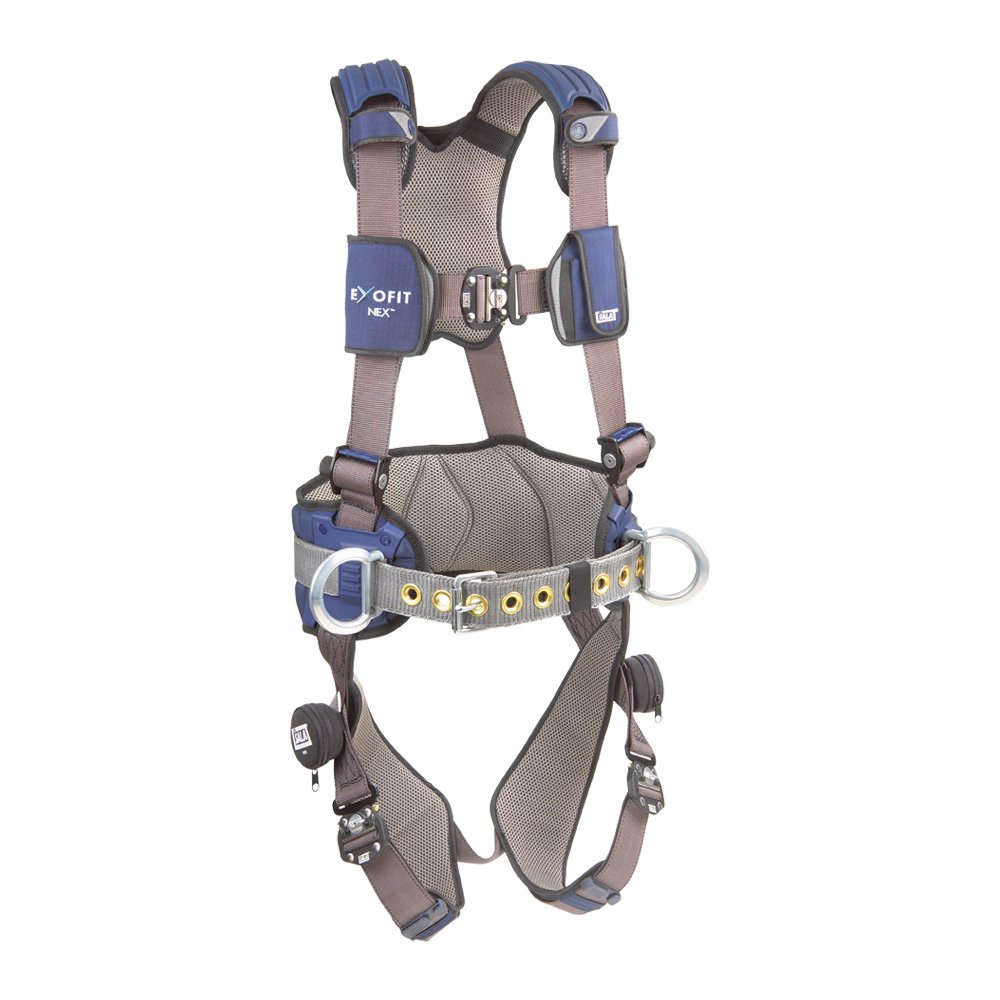 DBI/Sala ExoFit NEX, 1113127 Construction Harness, Alum Back/Side D-Rings, Locking Quick Connect Buckles, Sewn In Hip Pad & Belt, Large, Blue/Gray by 3M Personal Protective Equipment