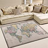ALAZA Original Vintage World Map Area Rug for Living Room Bedroom 5'3 x 4′ Review