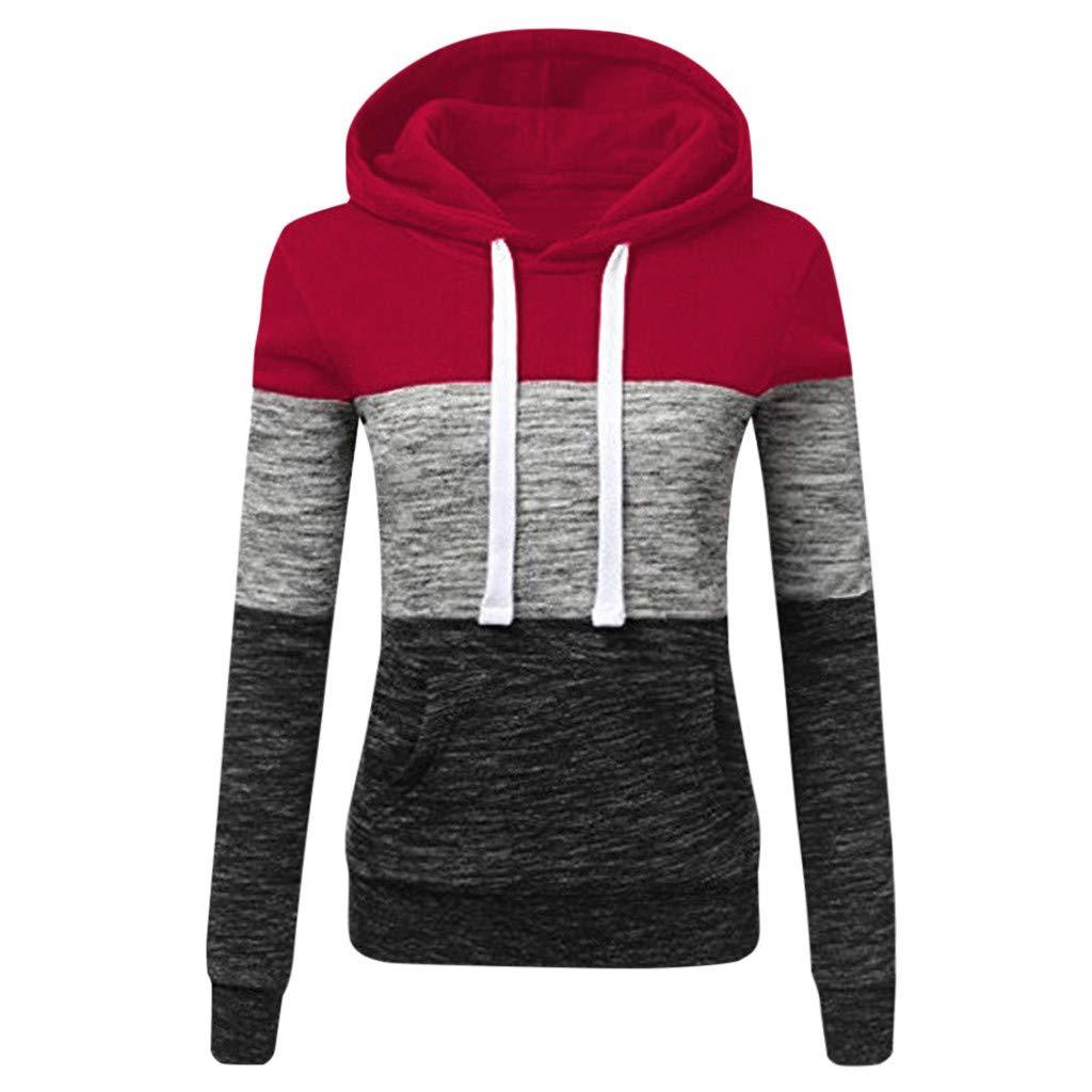 ✦HebeTop✦ Womens Long Sleeve Colorblock Pullover Fleece Hoodie Sweatshirt Tops Wine by ▶HebeTop◄➟HOT SALES