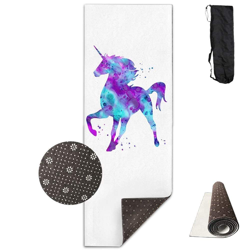 Yoga Mat Non Slip Proud Unicorn Printed 24 X 71 Inches Premium for Fitness Exercise Pilates with Carrying Strap