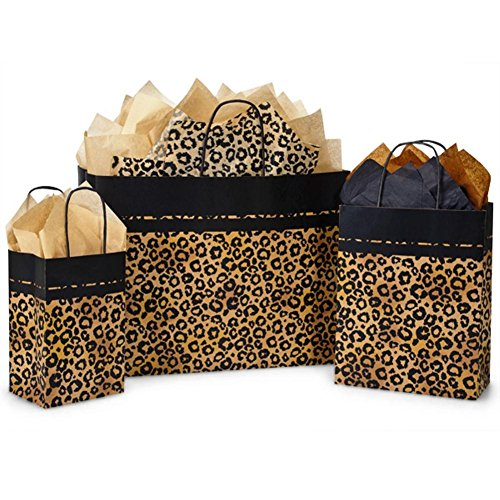 Leopard Safari Paper Shopping Bags - Assortment of 3 sizes - 250 Pack by NW