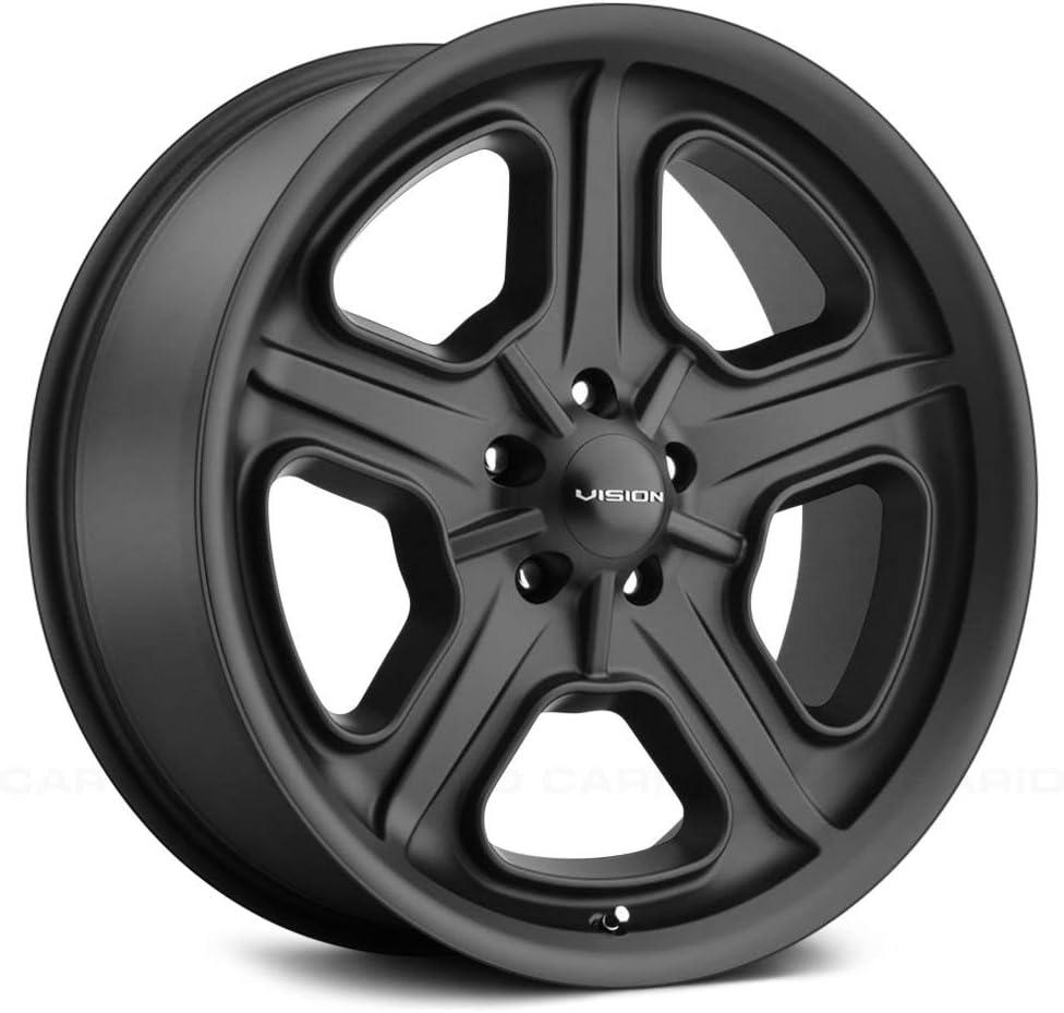 Satin Black 17 x 8 83mm Hub Vision 147 Daytona Сustom Wheel 5x120.65 Bolt Pattern 0 Offset