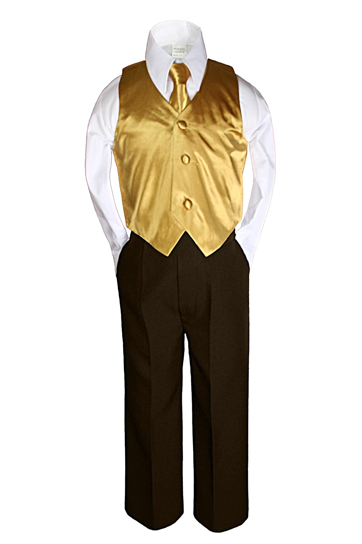 Unotux 7pc Boys Brown Suits with Satin Gold Vest Necktie Sets All Size