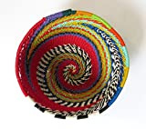 African Zulu woven telephone wire bowl – Extra small round - Red and multicolour - Gift from Africa